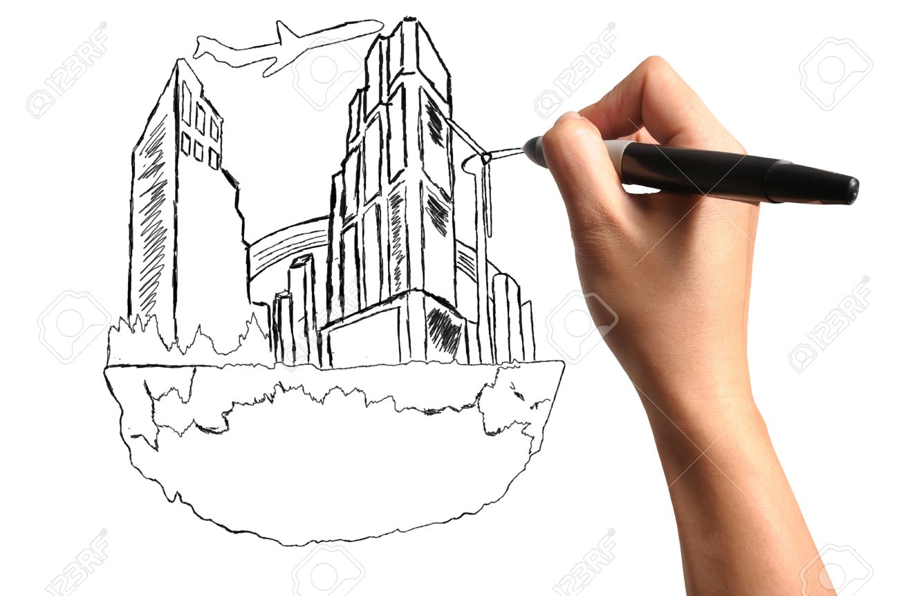 1300x863 Male Hand Drawing Floating City Stock Photo, Picture And Royalty
