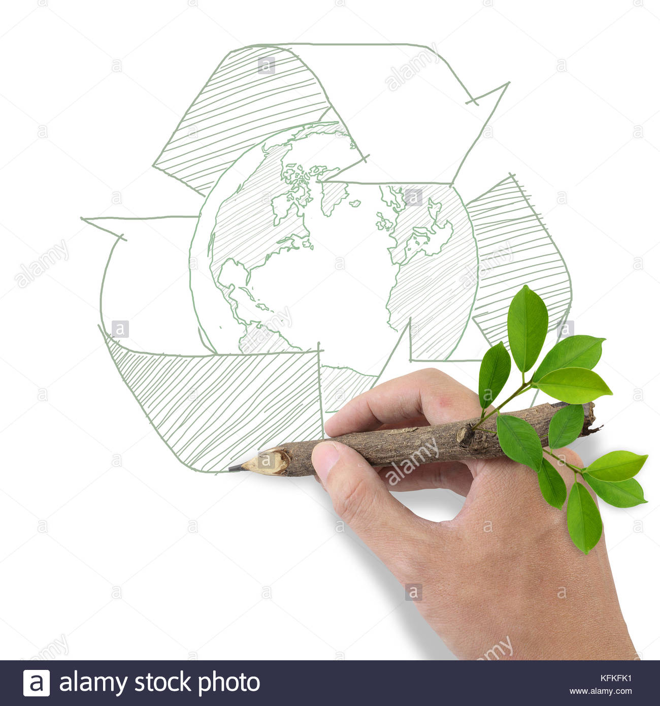 1300x1390 Male Hand Drawing Recycle And Earth Symbol Stock Photo 164542533