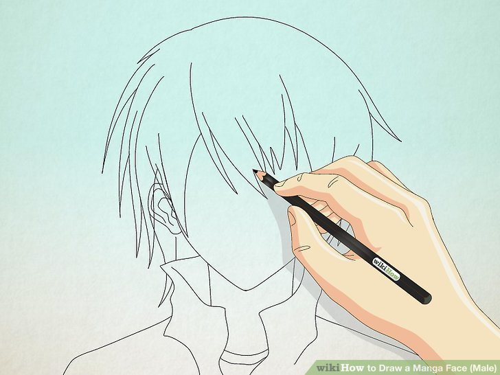 728x546 How To Draw A Manga Face (Male) 15 Steps (With Pictures)