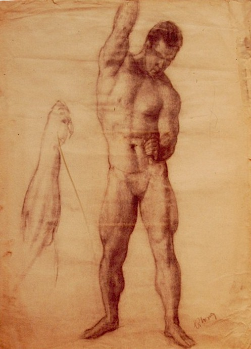 497x691 Cactus Hill Art Gallery Drawing, Male Model