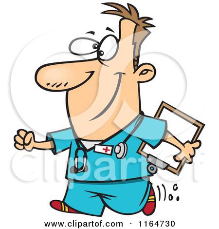 450x470 Cartoon Of A Happy Male Nurse Carrying A Clipboard