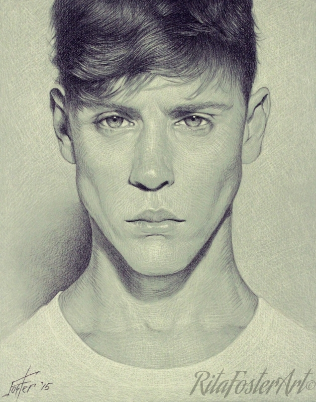629x800 Art By Rita Foster Charcoal Portrait Drawing, Male Model