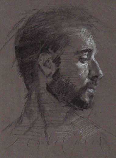 381x520 Male Portrait Young Man Profile Original Chalk Charcoal Drawing
