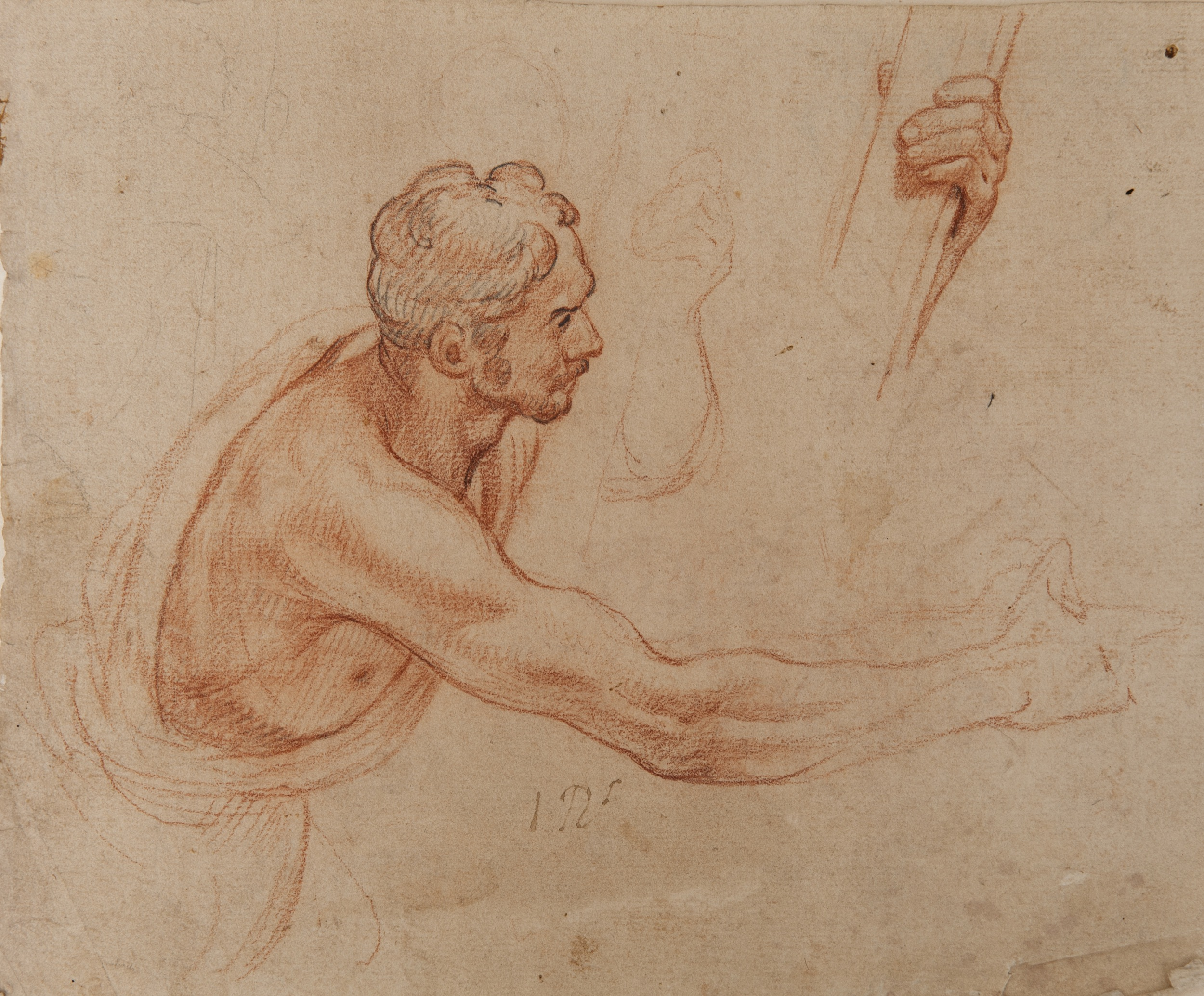 2500x2069 Male Figure In Profile Supporting A Piece Of Wood (Recto