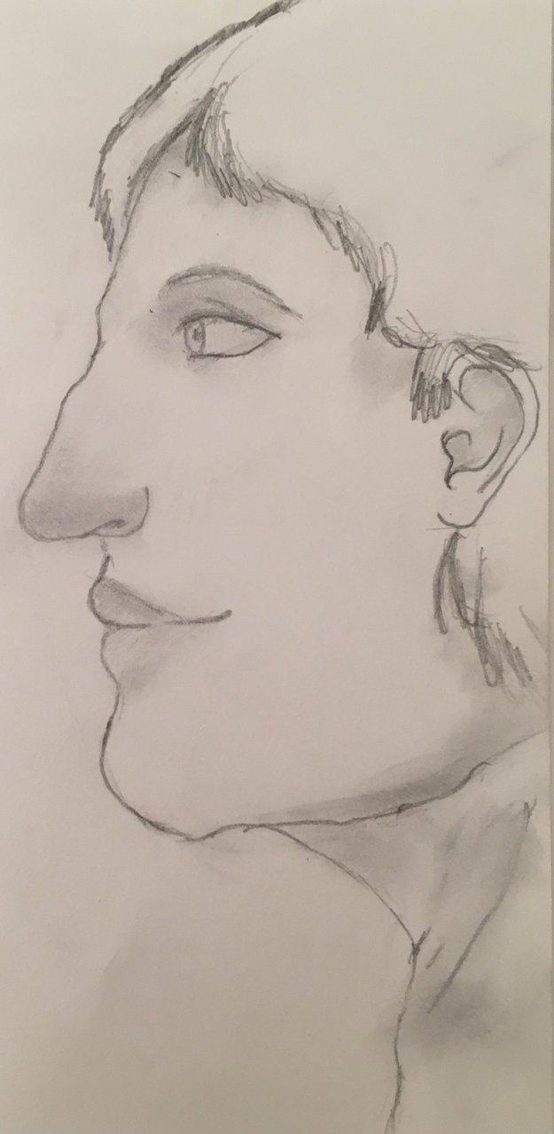 625x1279 Male Profile Drawing By Alice Fujioka