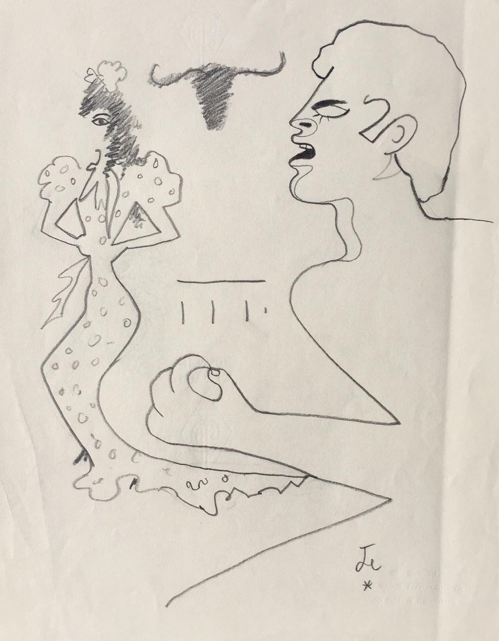 975x1254 Man amp Woman, c. 1955 drawing by Jean Cocteau Denis Bloch Fine