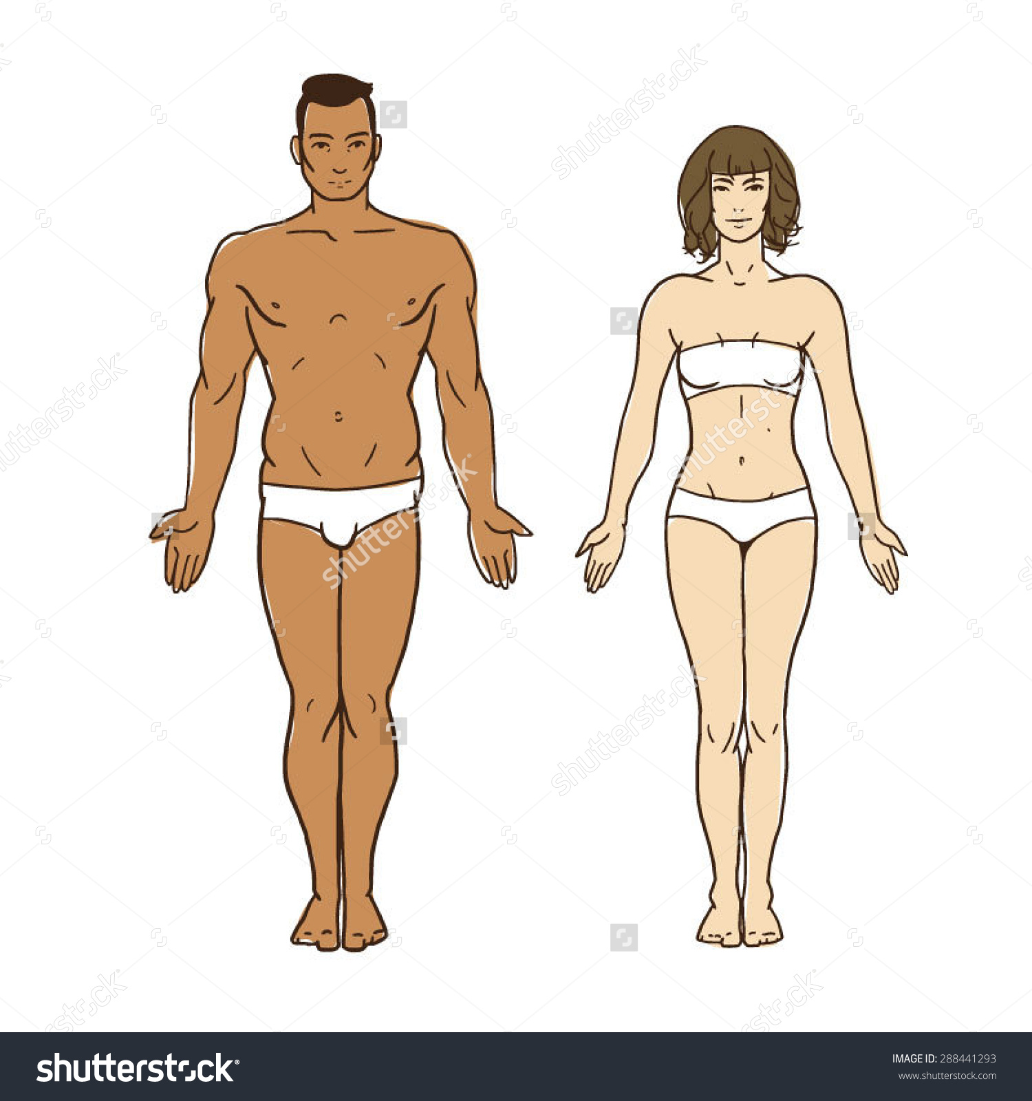 1500x1600 Man and woman healthy body figures vector drawing human figures