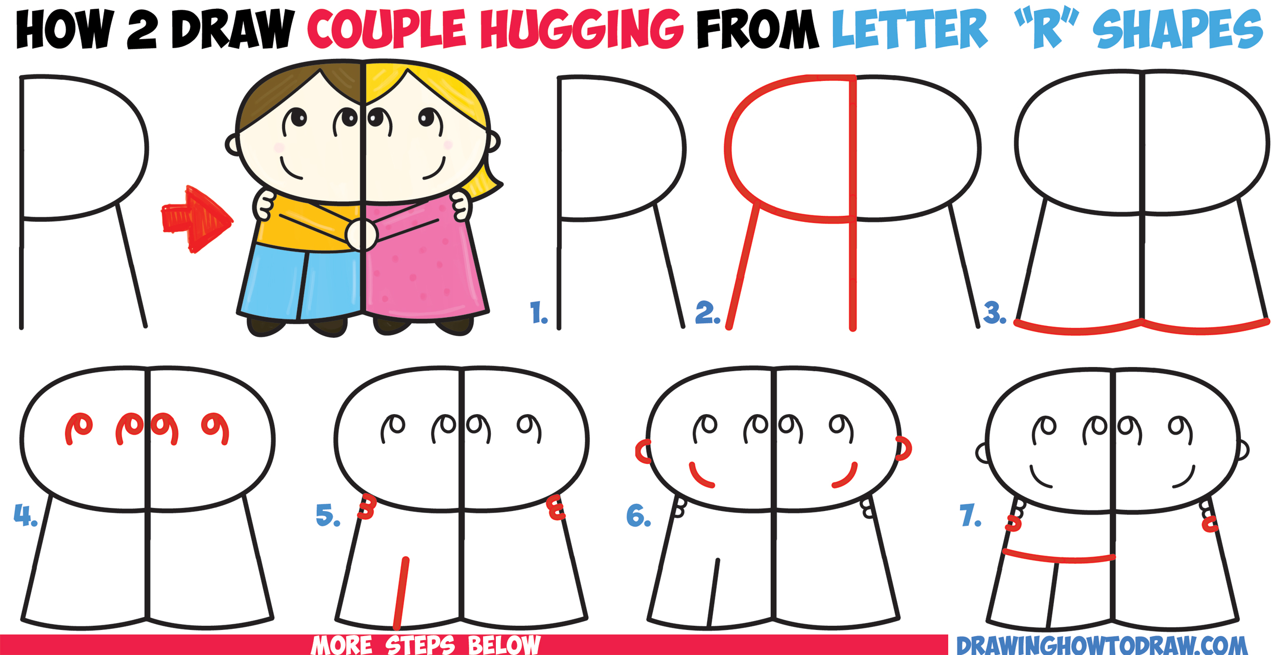 2500x1278 How to Draw Cartoon Couple (Girl and Boy) Hugging from Letter R