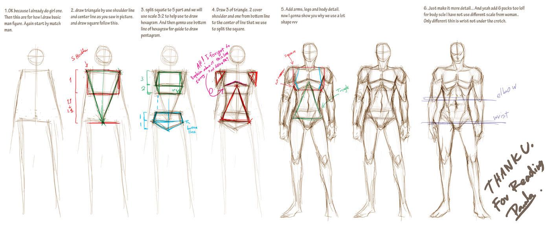 1389x575 How I Draw Basic Man Figure By Pandabaka
