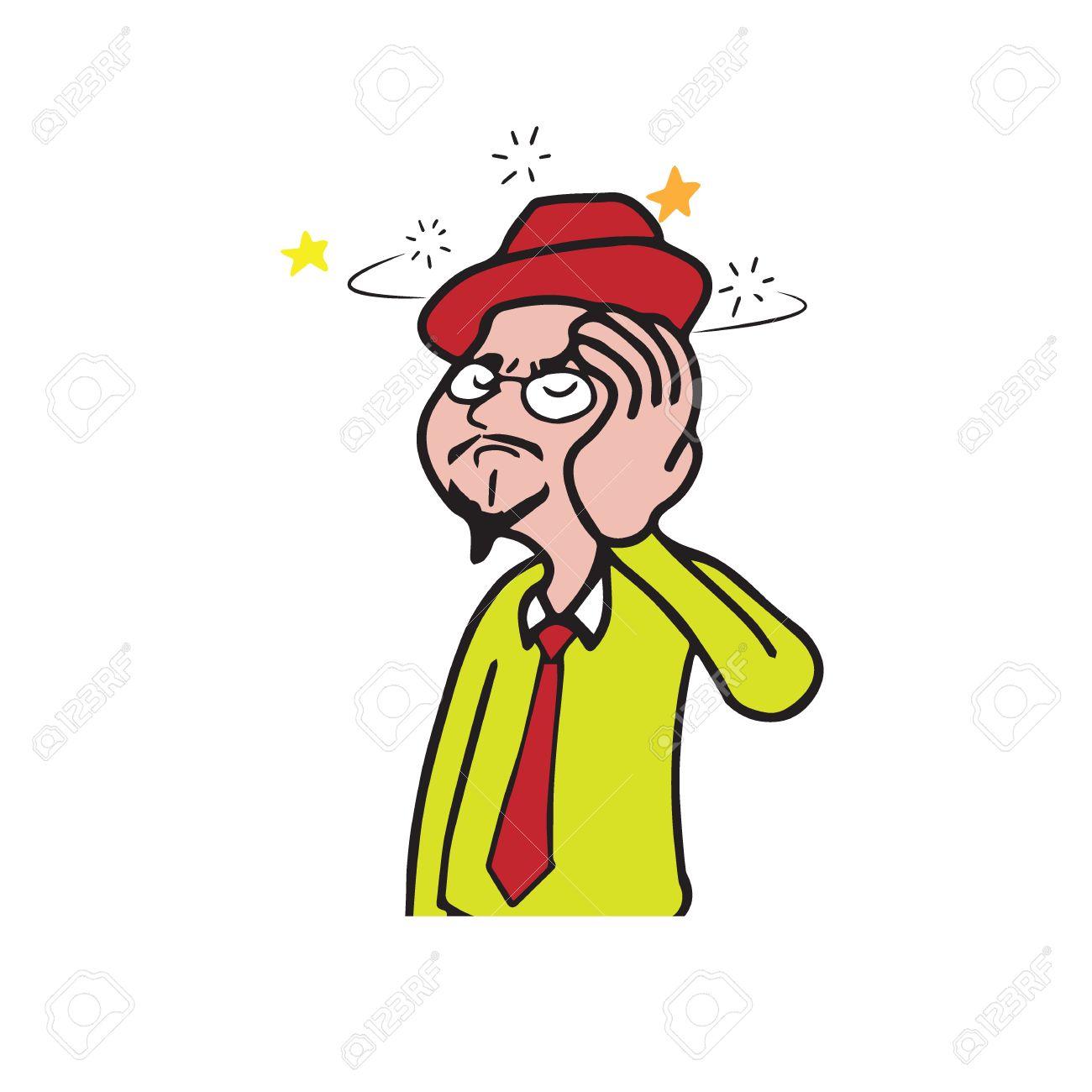 1300x1300 Health Man Colorful Dress Dizzy Cartoon Drawing Royalty Free