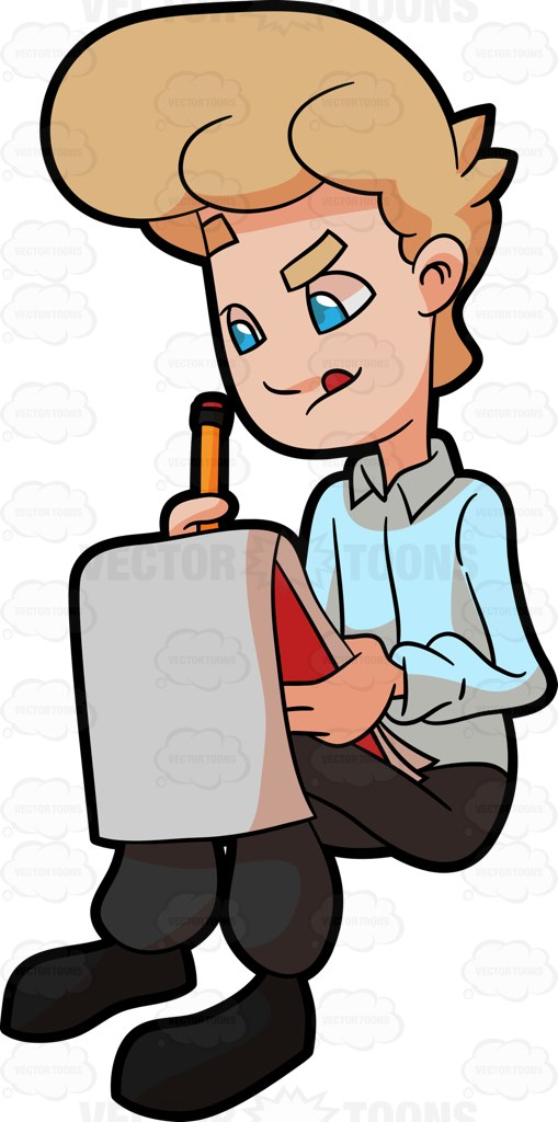 509x1024 A Man Drawing Something On His Sketchpad Cartoon Clipart