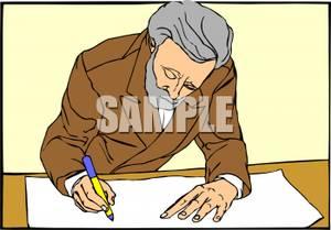 300x209 Colorful Cartoon Of An Elderly Man Drawing