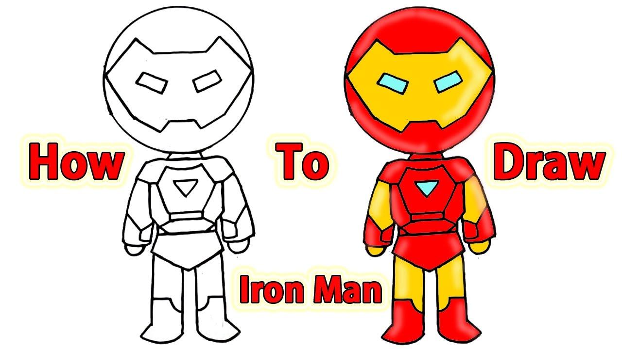 1280x720 How To Draw A Cartoon Ironman Cute Kids Art Lesson