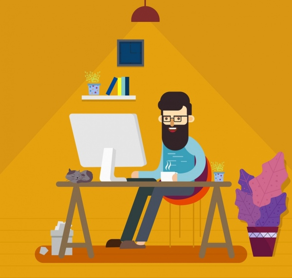 600x571 Working man drawing colored cartoon design Free vector in Adobe