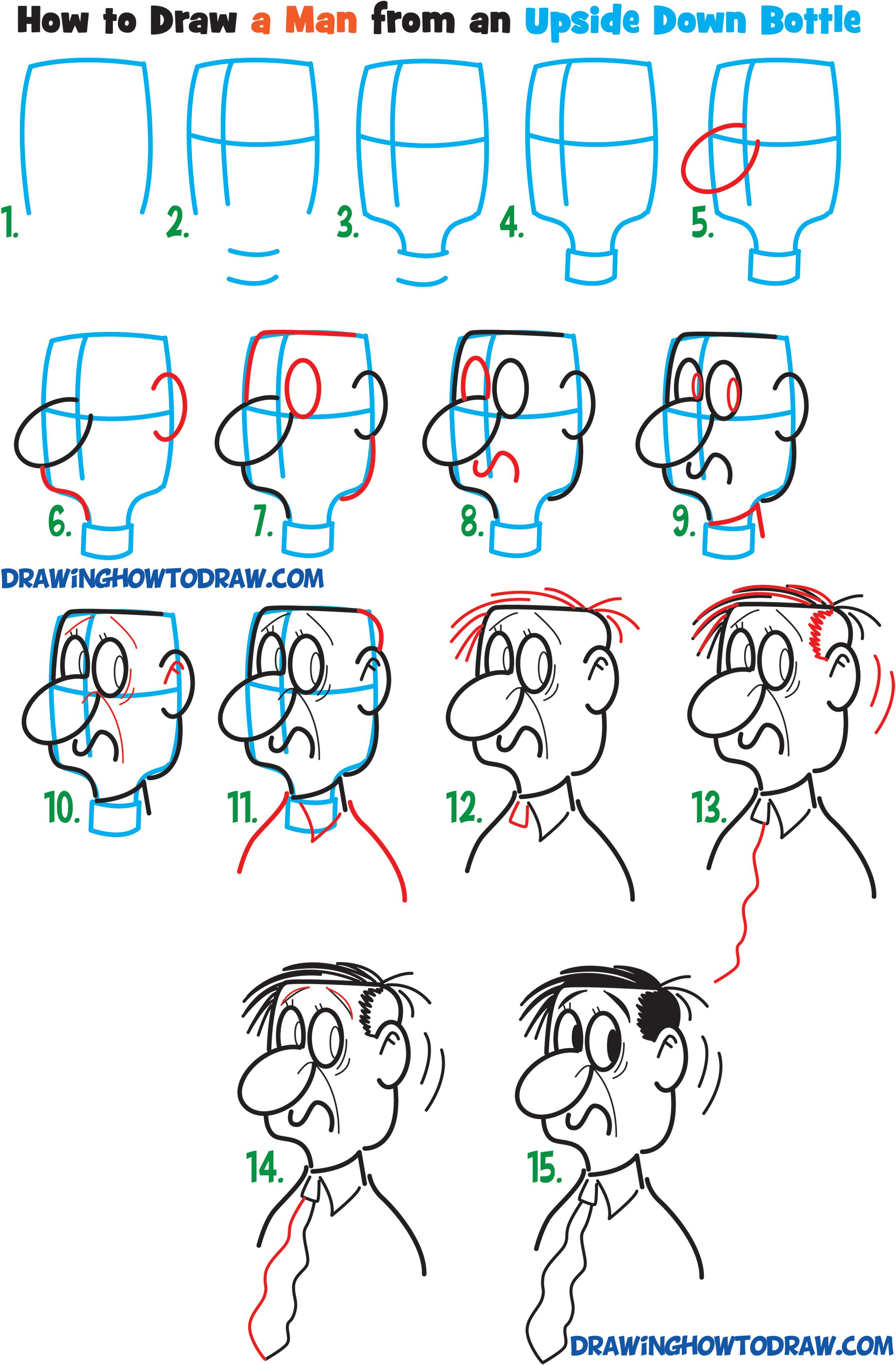 2200x3351 Learn How To Draw Cartoon Men Character's Faces From Household
