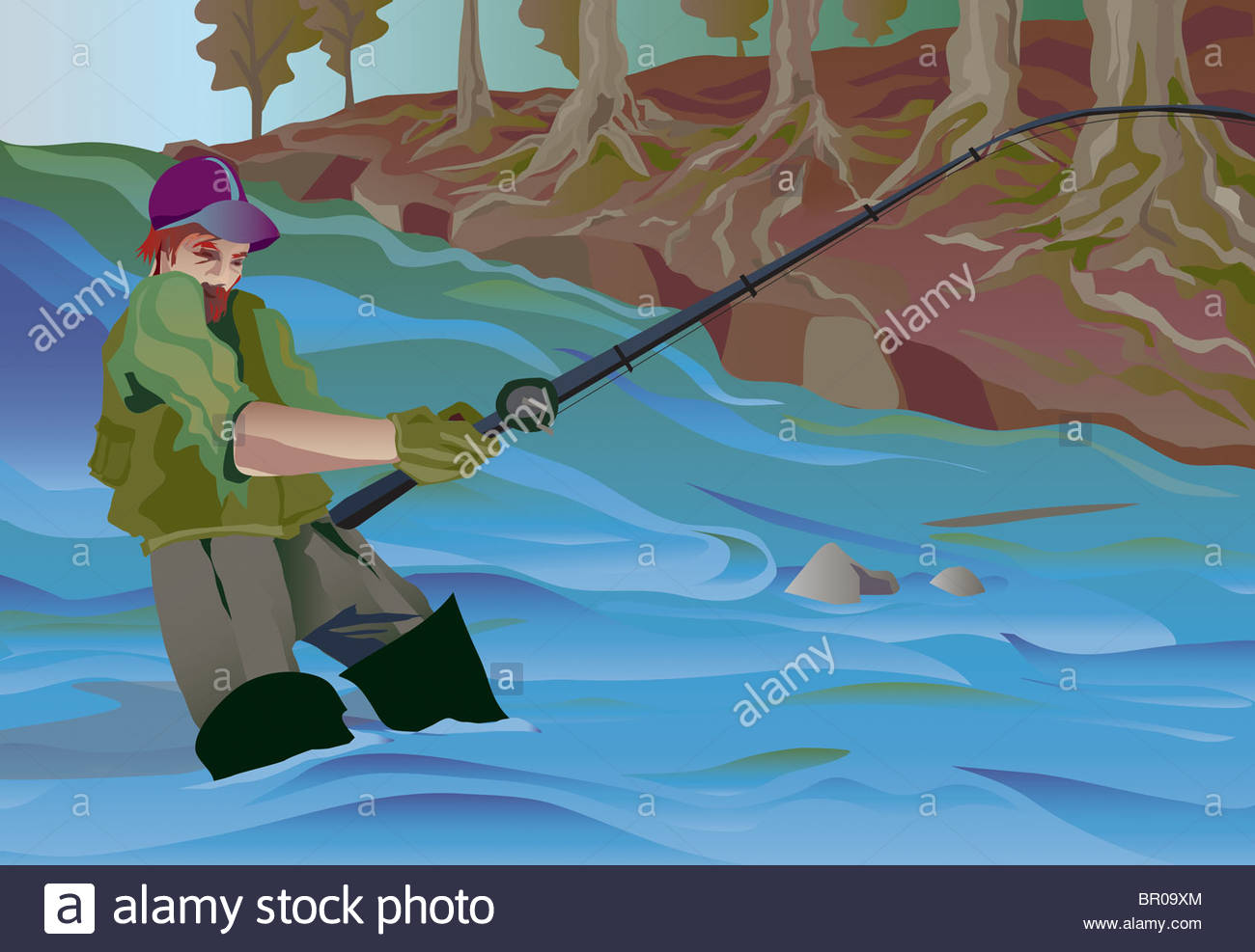1300x987 A Drawing Of A Man Fishing Alone In The Jungles Stock Photo