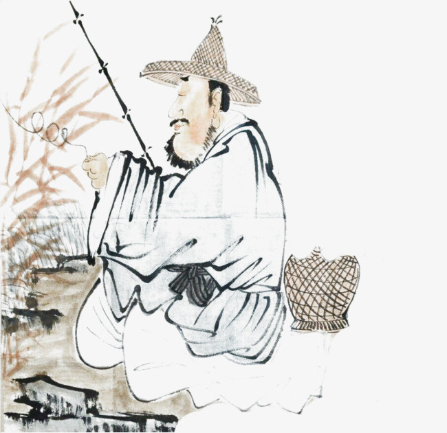 650x630 Ancient Chinese Ink Fishing, Water Fishing, Go Fishing, Old Man