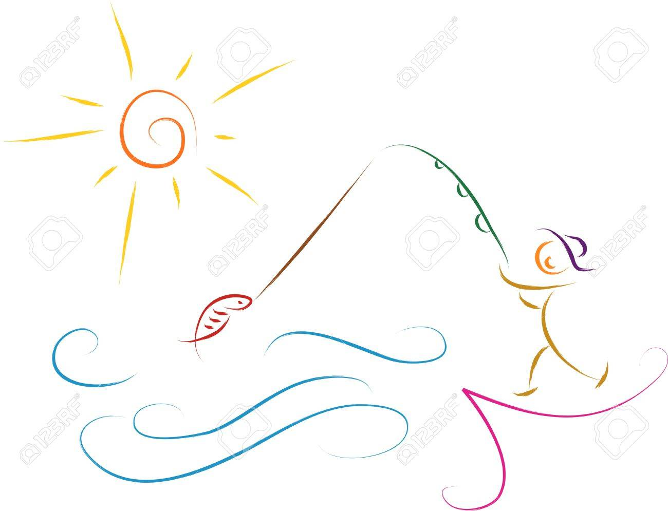 1300x995 Fishing Man Sketch Illustration Royalty Free Cliparts, Vectors