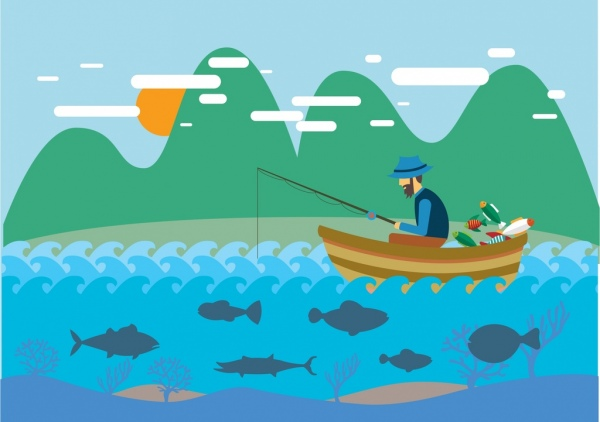 600x422 Hobby Concept Design Man Fishing On Boat Drawing Free Vector