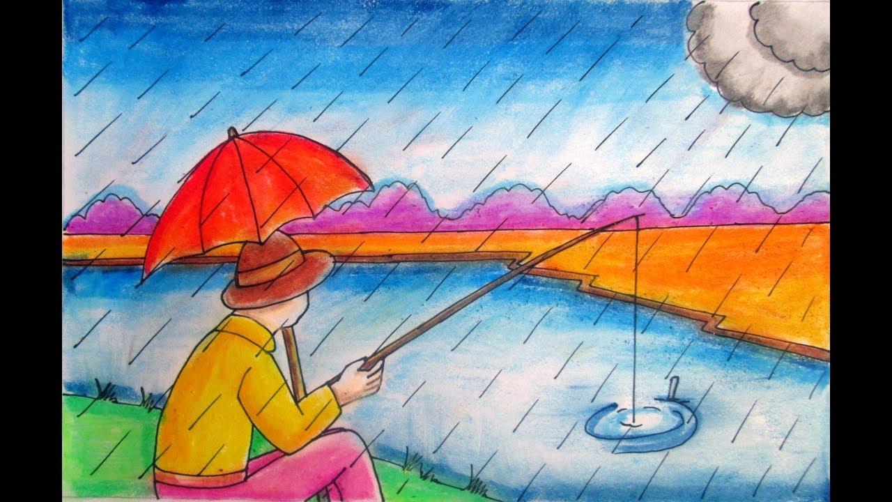 1280x720 Rainy Season Drawing Fisher Man Fishing In The River Village