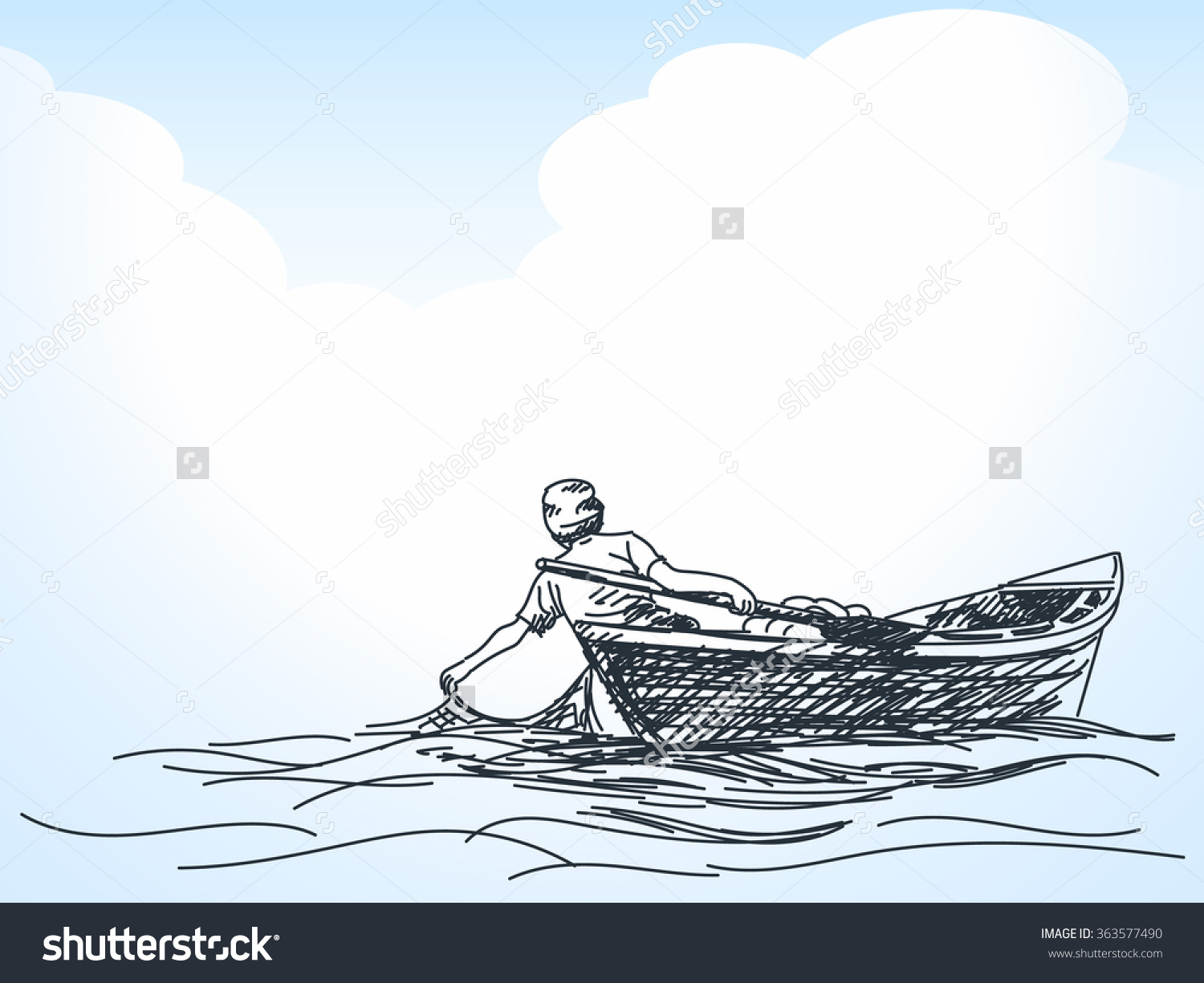 1500x1225 Sketch Of Man Fishing With Net From Boat, Hand Drawn Illustration