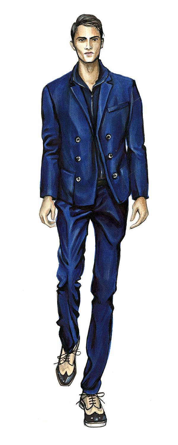 600x1500 Man In Blue Suit Sketch Artea Sketches, Elegant