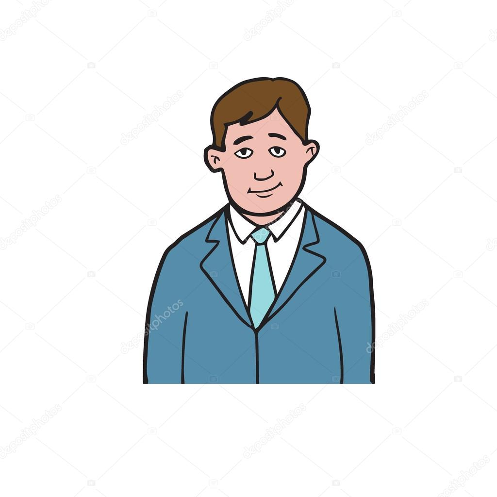 1024x1024 Man In Suit Cartoon Drawing 2 Stock Vector