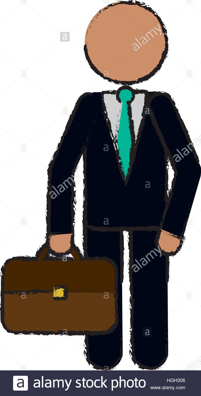 706x1390 Drawing Character Business Man With Suit Portfolio Stock Vector
