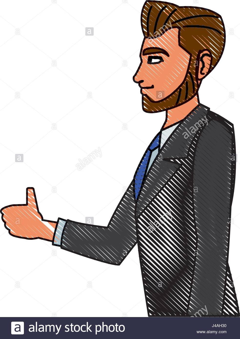 984x1390 Drawing Character Business Man With Suit Profile Stock Vector Art