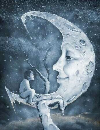 346x450 Boy And Moon By Jim Carroll Moon, Star And Moonlight