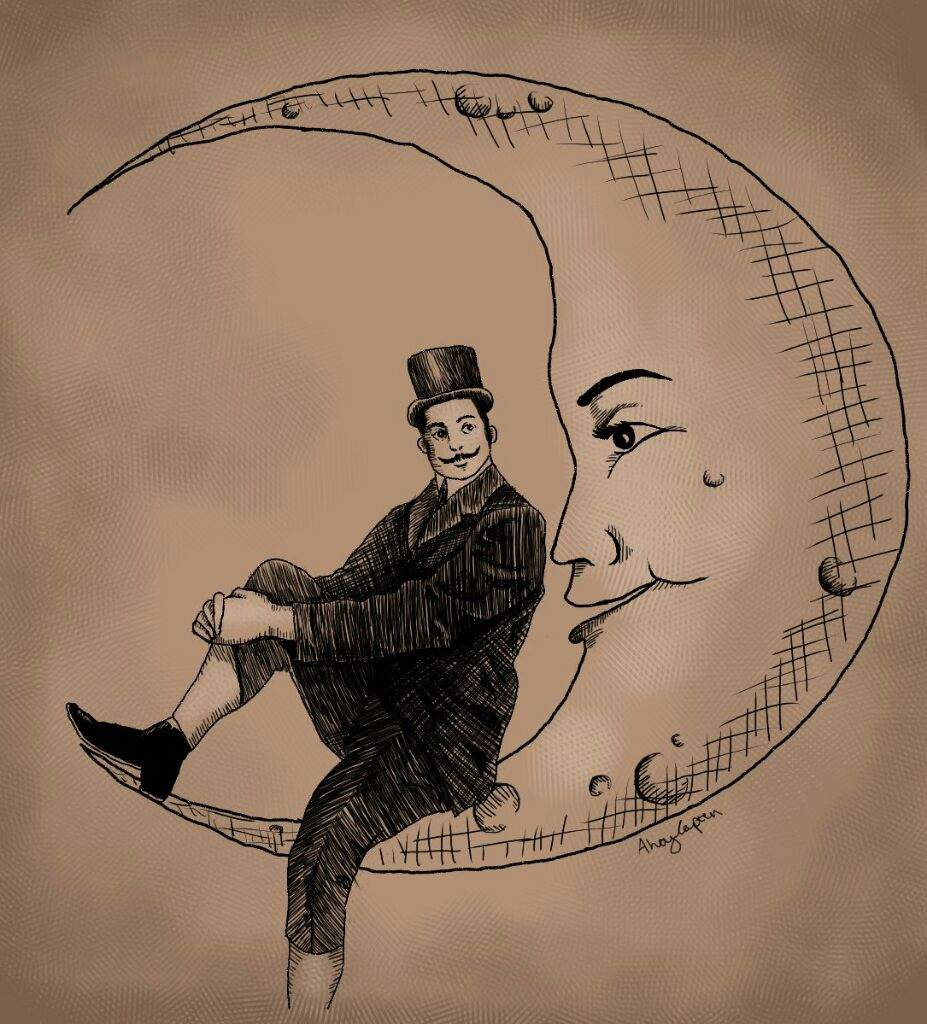 927x1024 Fancy Man On The Moon Art Amino