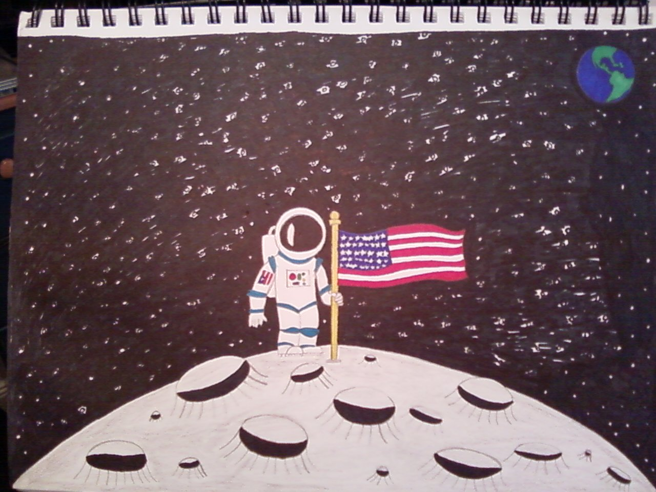 1280x960 Man The Moon Sketch (Colored) By Michaelperrone