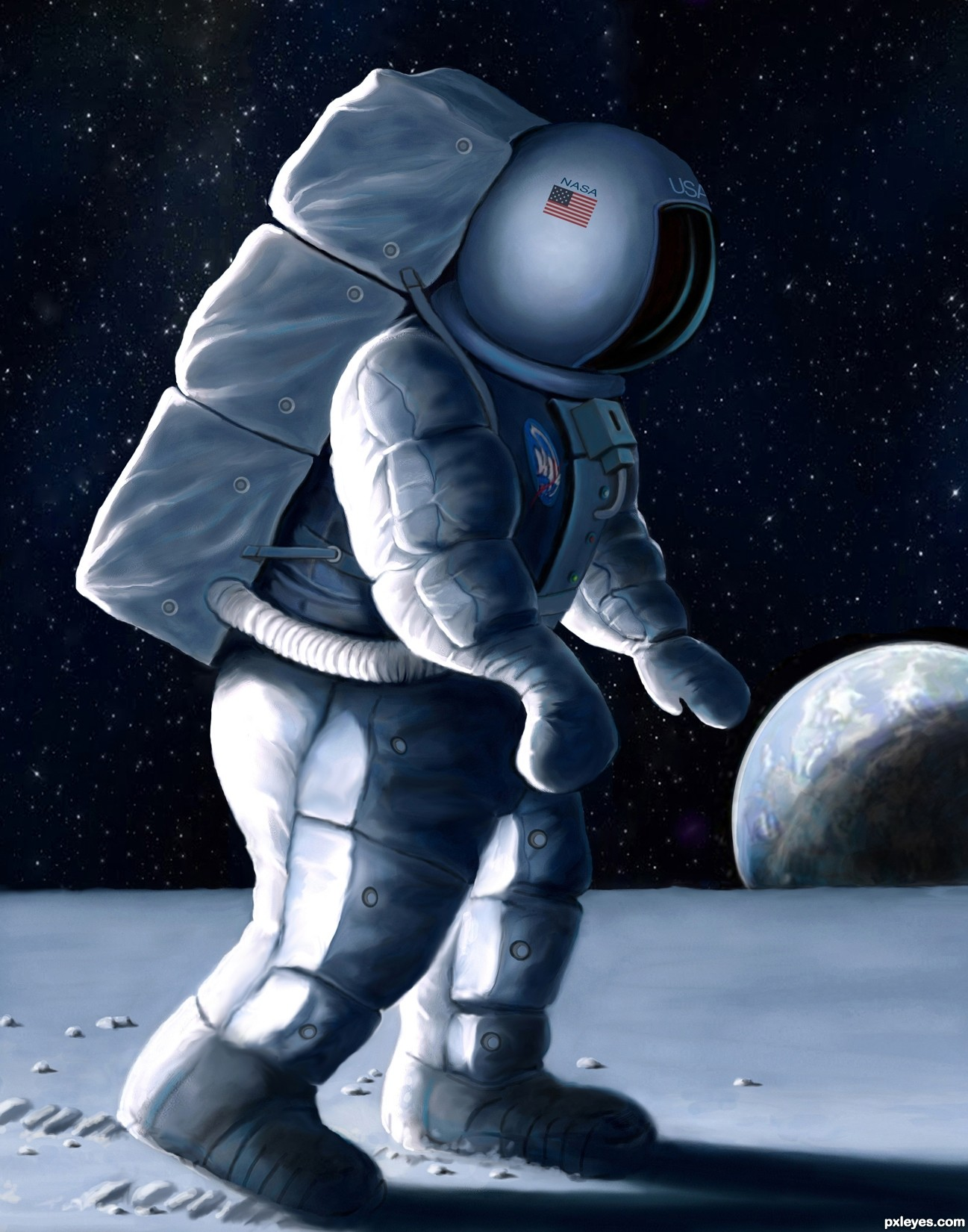 1297x1650 One Small Step For Man Picture, By Glockman For Man On Moon