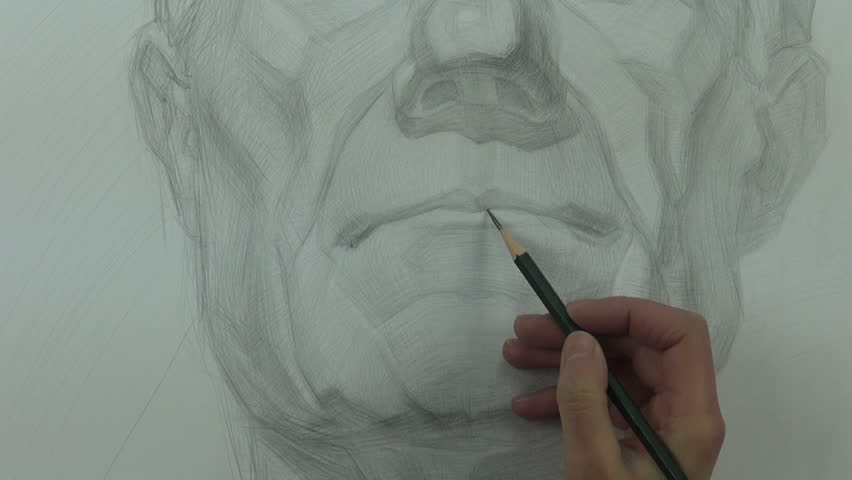 852x480 Drawing A Study Of Man With Graphite Pencil On Paper Stock Footage