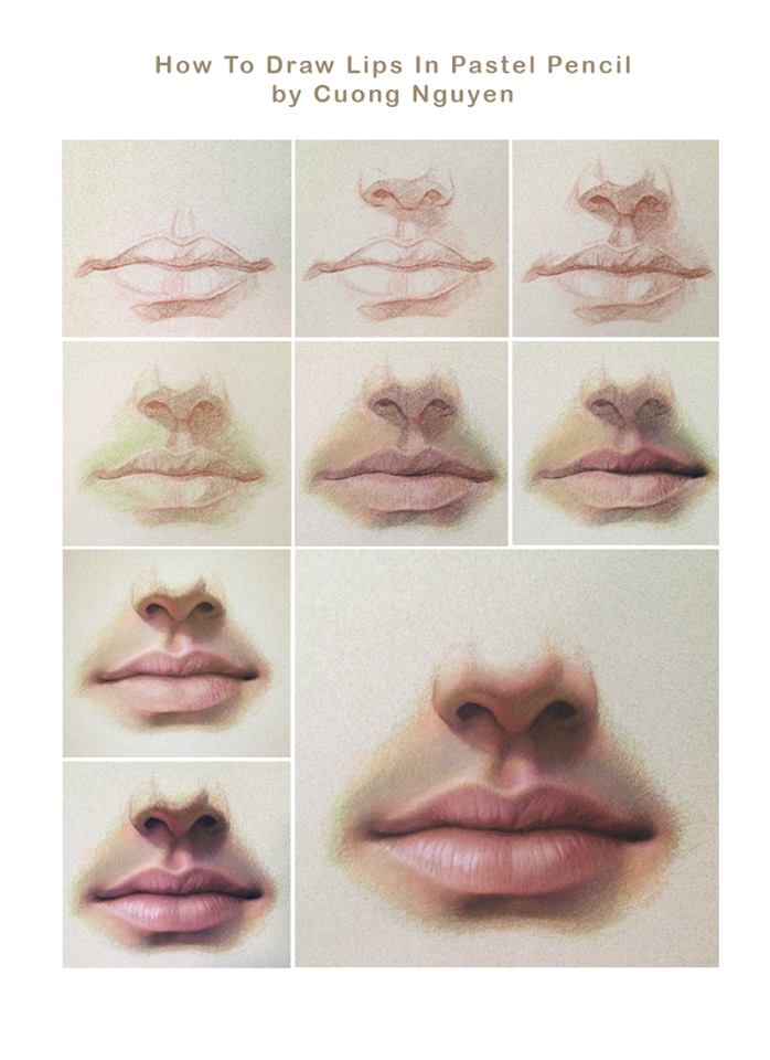 698x960 How To Draw The Lips In Pastel Pencil By Cuong Nguyen Lips
