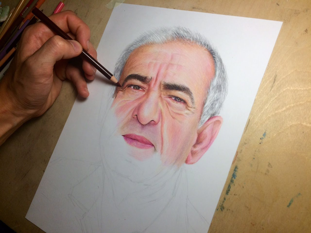 1280x960 Colored Pencil Drawing Of A Man. (Time Lapse Drawing Video)