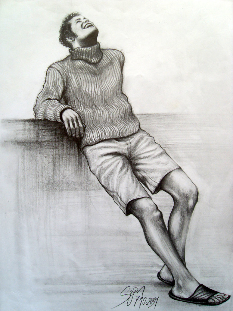 774x1032 Smile Man Art Pencil Drawing 2001 By Caginoz