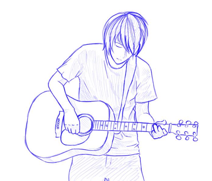 696x597 Japan Guitar Man Sketch By Tanuki Bandit