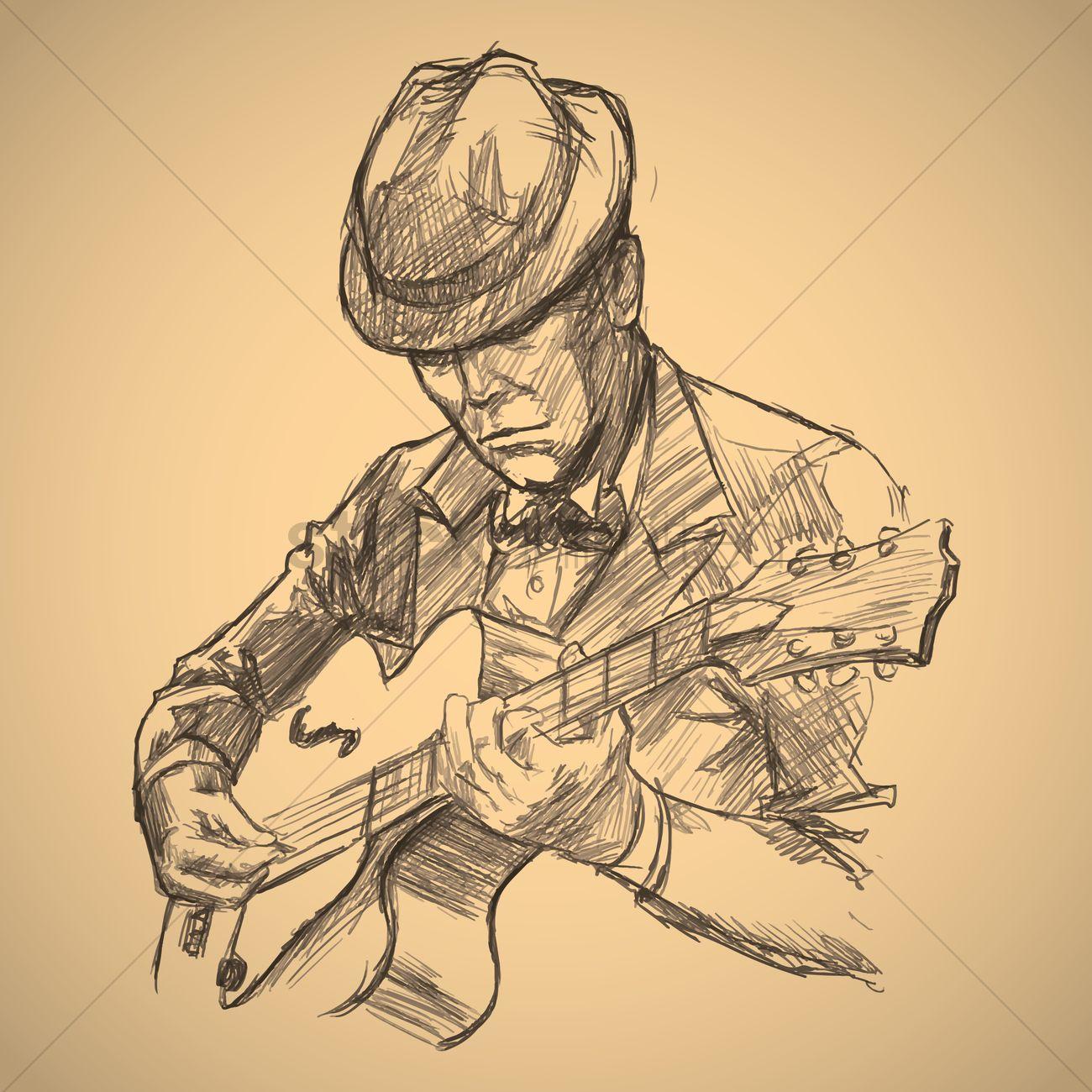 1300x1300 Man Playing Guitar Vector Image