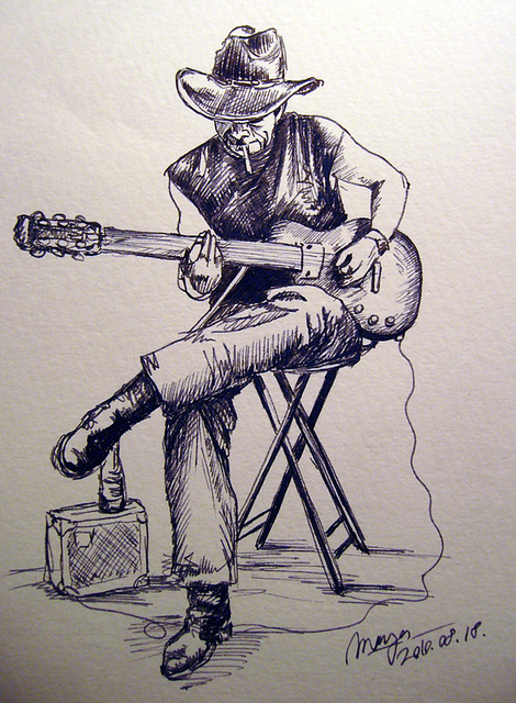 470x640 Old Man With Guitar Drawing Book Guitars And Drawings