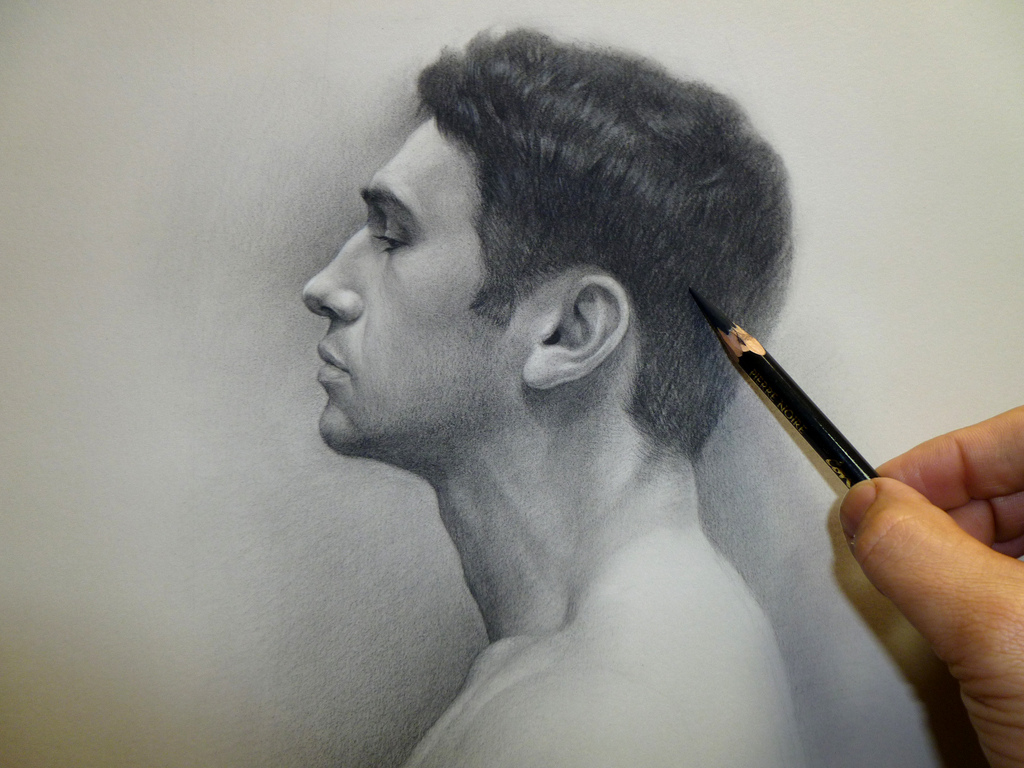 1024x768 Profile Of A Young Man Conte Study On Paper Cuong Nguyen