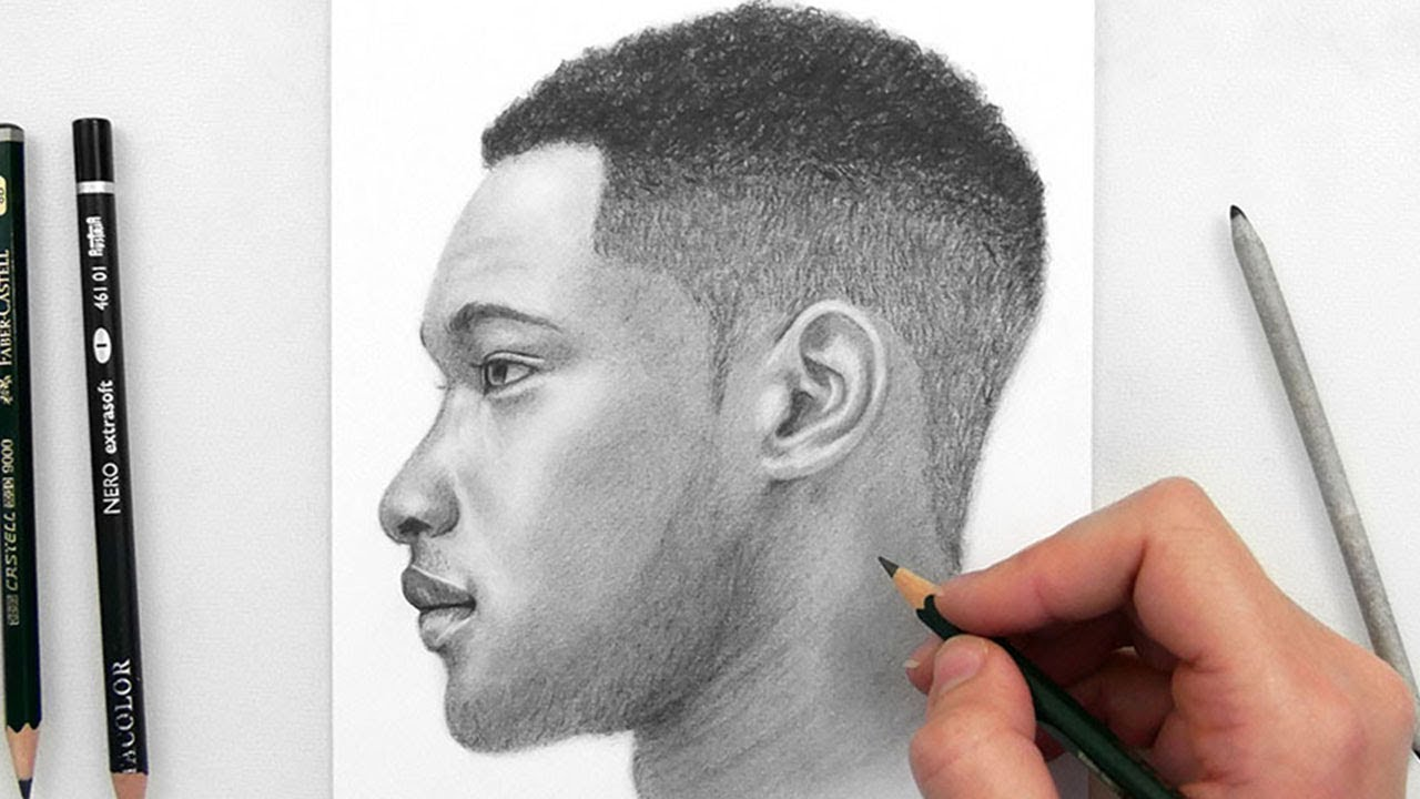 1280x720 Drawing A Man Side View With Graphite Pencils