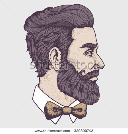 450x470 Hand Drawn Portrait Of Bearded Man Side View. Vector Illustration
