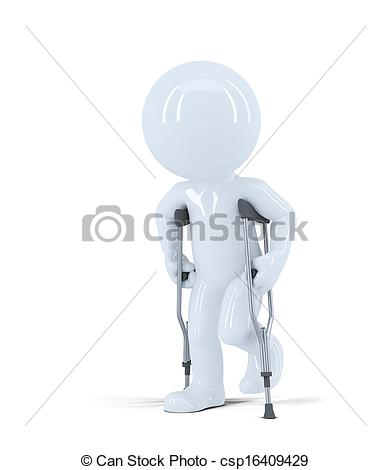 391x470 3d Man Walking On Crutches. Isolated On White Background Clip Art