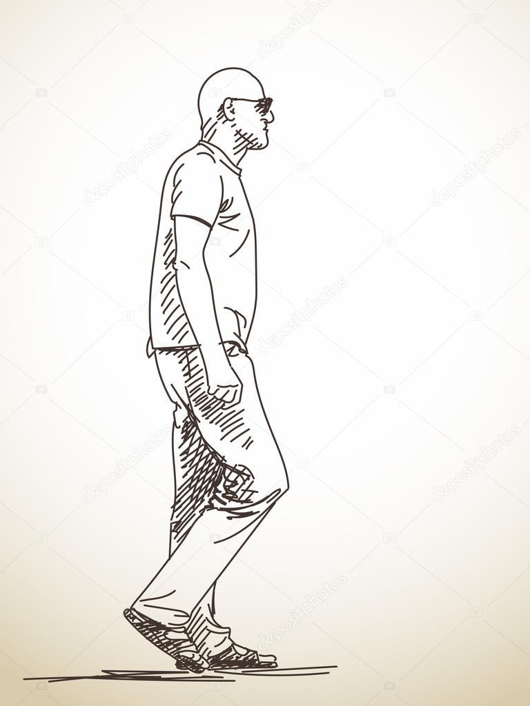 768x1024 Drawing Of A Man Walking Draw Page 1299 Copay.online
