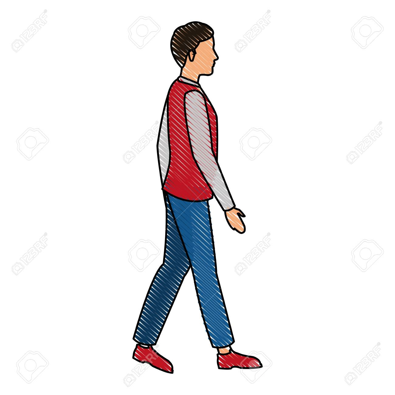 1300x1300 Drawing Young Guy Walking Casual Clothes Vector Illustration