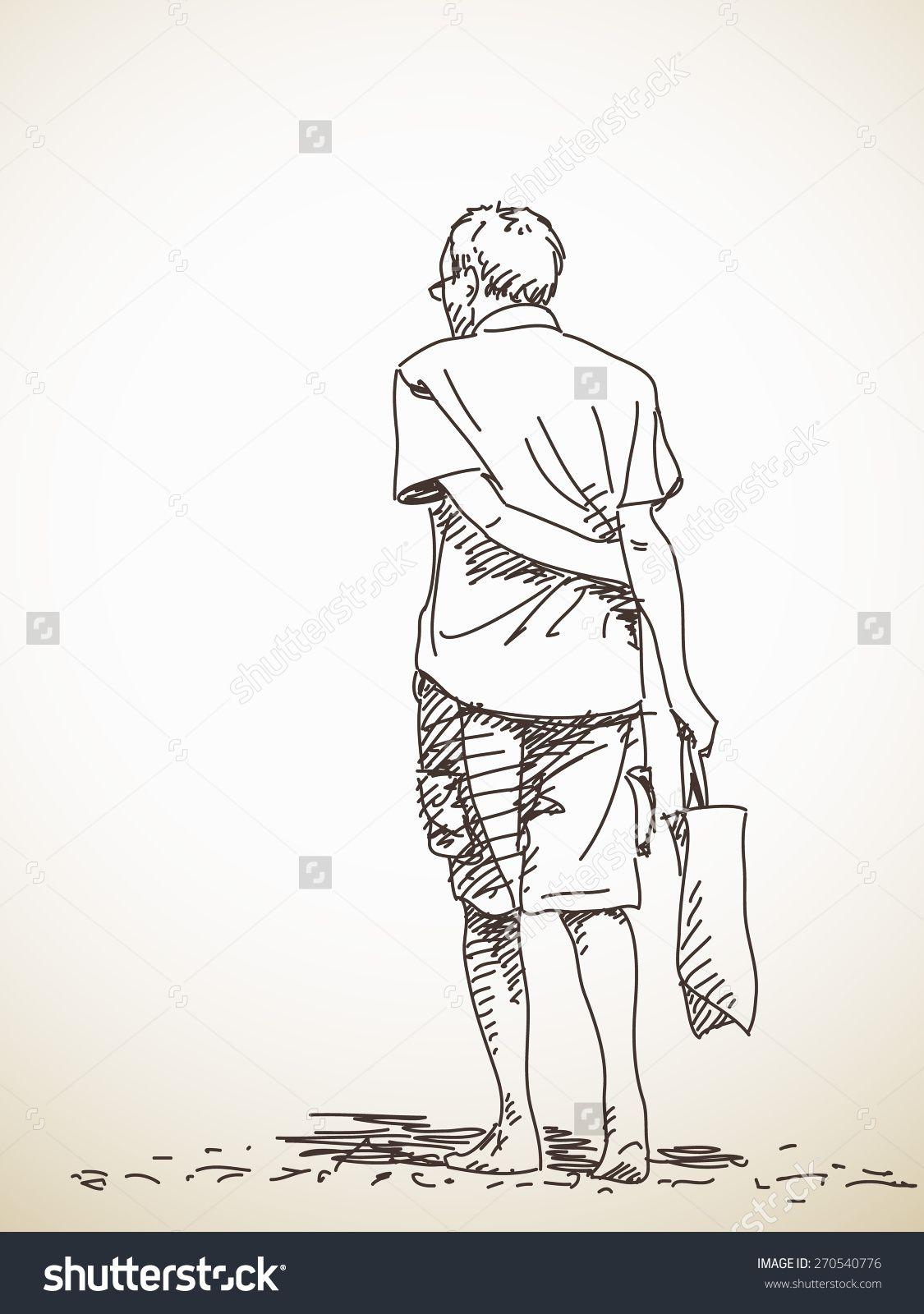 1125x1600 Sketch Of Old Man Walking Barefoot Back View Hand Drawn Vector