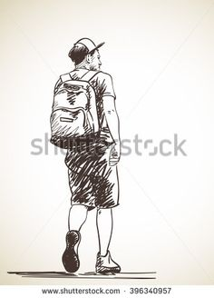 236x328 Sketch Of Man Walking, Hand Drawn Illustration Of Back View