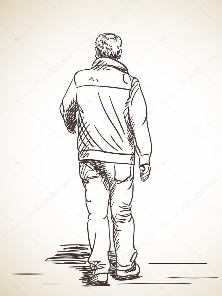 768x1024 Sketch Of Man Walking Stock Vector Olgatropinina