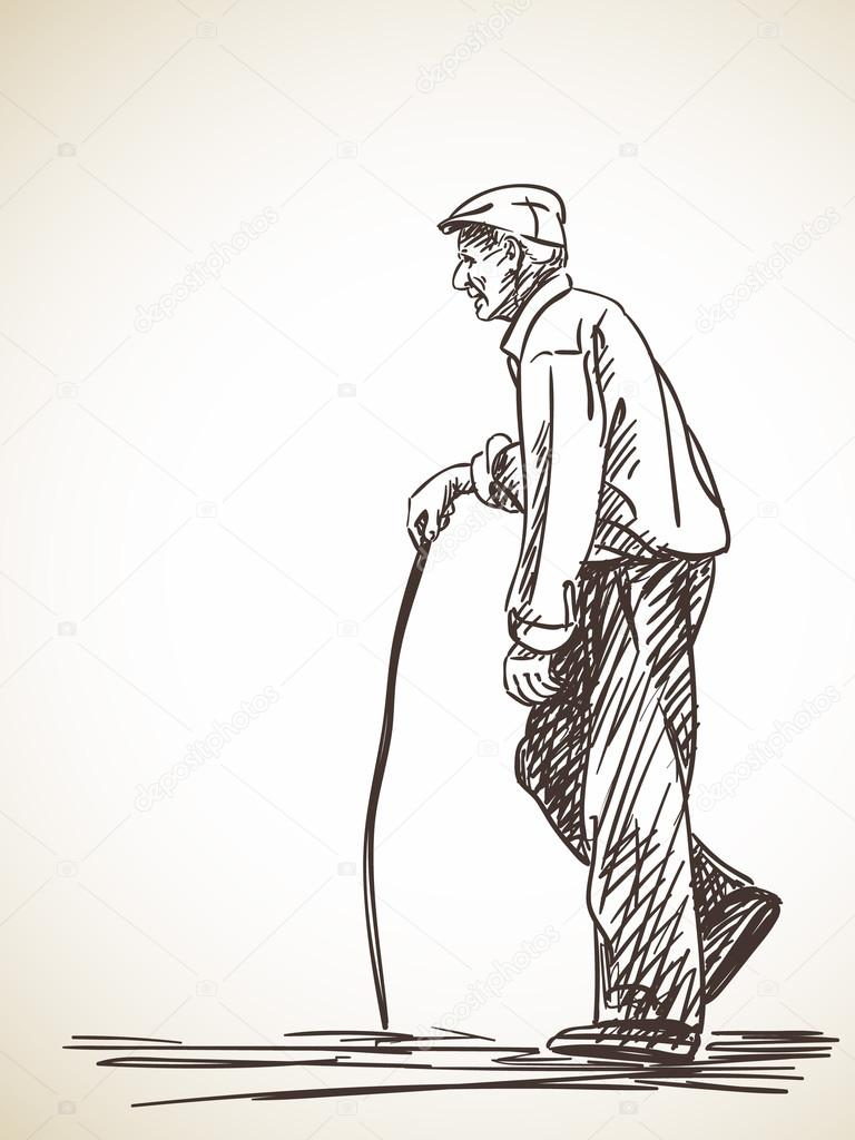 768x1024 Old Man Walking With Stick Stock Vector Olgatropinina